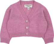 Baby Girl - Cotton V-Neck Shrug With Wide Ribbed Hem