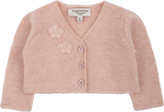 Baby Girl - Cotton V-Neck Shrug With Applique Flower Detail