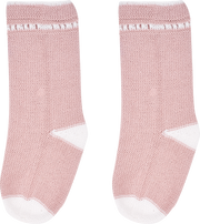 Baby Girl - Cotton Socks With Contrasting Borders And Crochet Detail