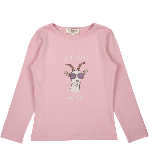 Girl - Lookin' Goat Pima Cotton long sleeves illustrated T-Shirt