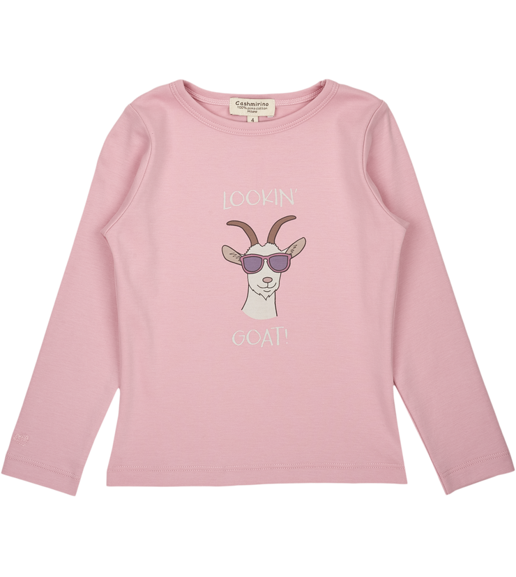 Baby Girl - Lookin' Goat - Pima Cotton long sleeves illustrated T-Shirt