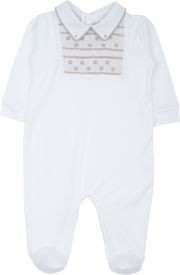 Baby Boy - 100% Pima Cotton Short Sleeve BabyGro With Pointed Flat Collar