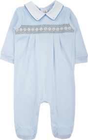 Baby Boy - 100% Pima Cotton Smocked Babygro With Pointed Flat Collar