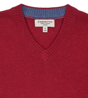 Boy - 100% Pima Cotton V-Neck Jumper With Internal Contrast
