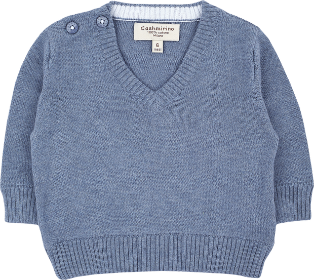 Baby Boy - Cotton V-Neck Jumper With Internal Contrast