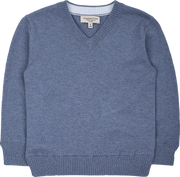 Boy - Cotton V-Neck Jumper With Internal Contrast