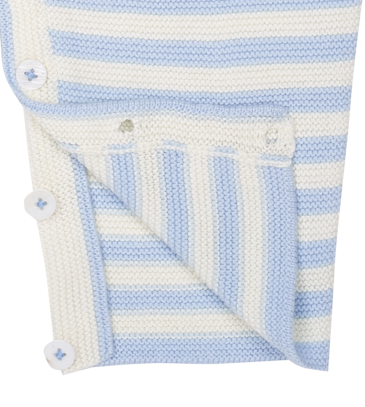 Baby Boy - Mario Cotton Candy Striped Romper With Short Sleeves