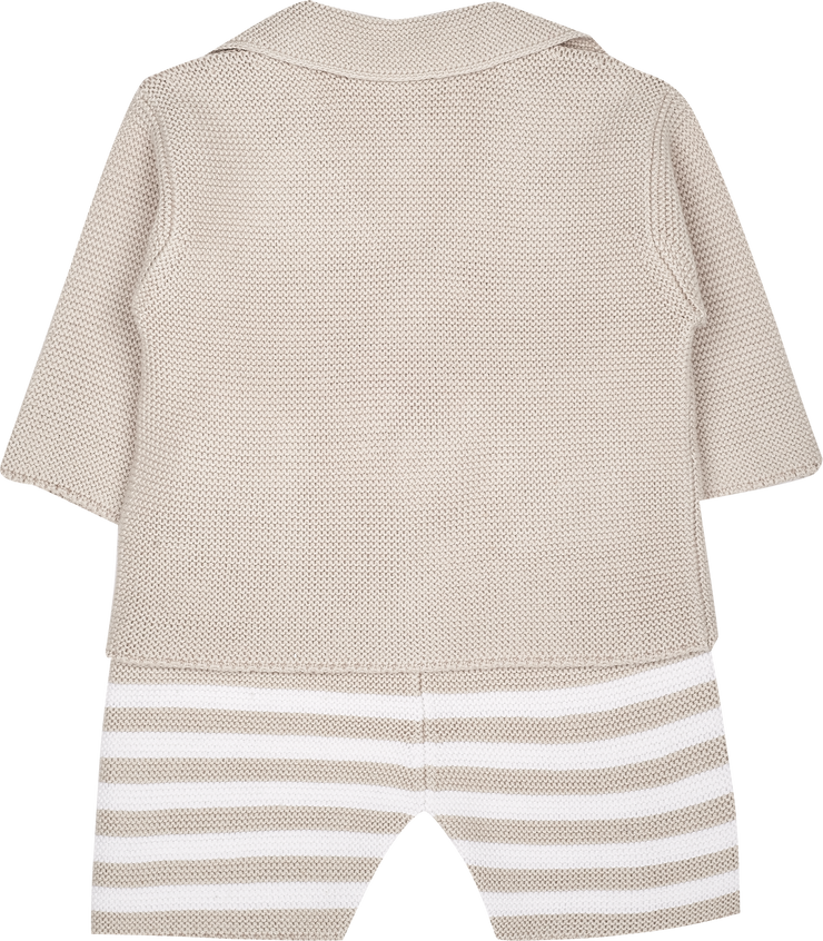 Baby Boy - Cotton V-neck Blazer And Striped Shorts With Elasticated Waist Set
