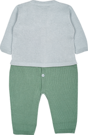 Baby Boy - Marvin Cotton V-neck Cardigan And Round Neck Romper Set