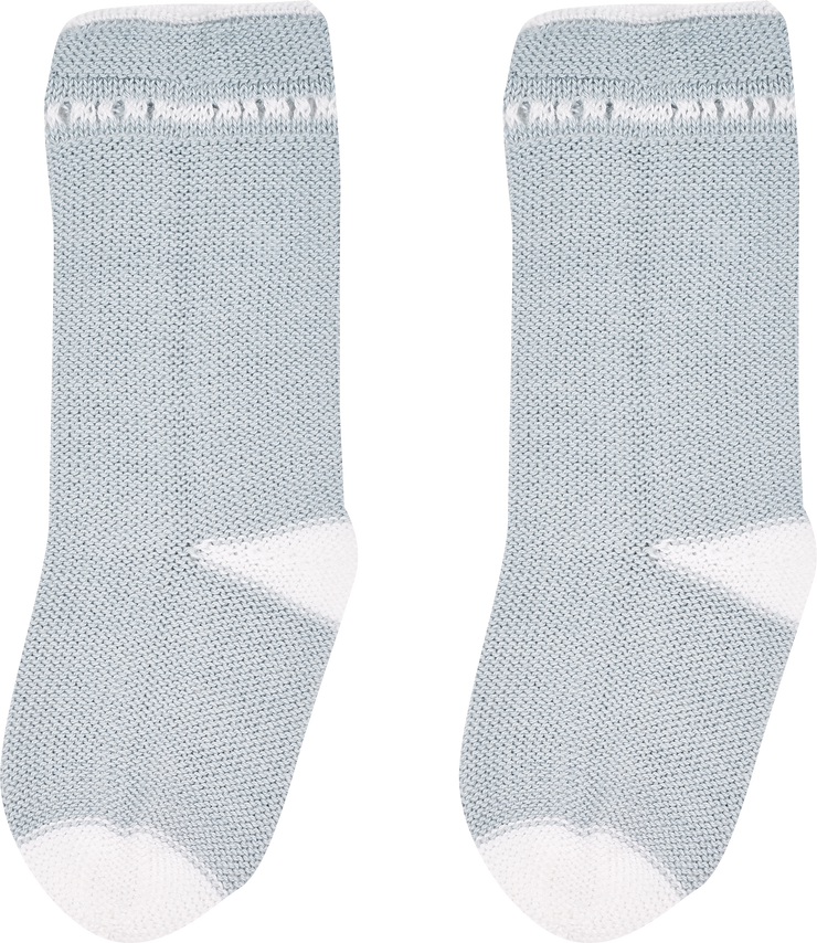 Baby Boy - Georgey Cotton Socks With Contrasting Borders And Crochet Detail