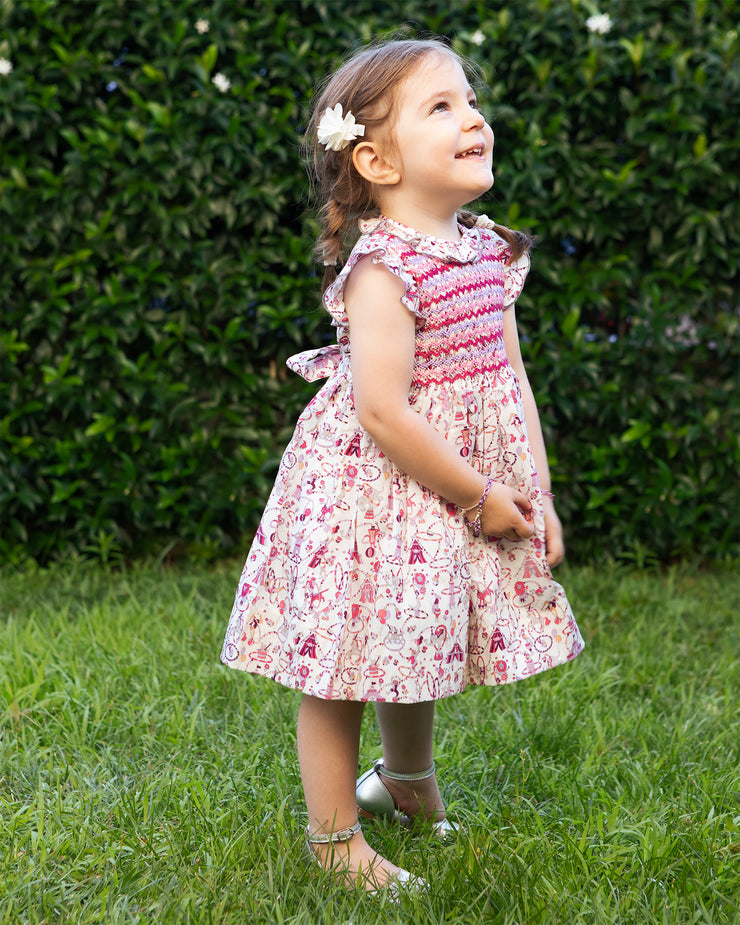 Girl - Wendy Hand Embroidered 100% Cotton Smocked Dress In Circus Print