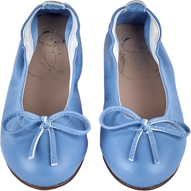 Girl - Leather Ballerina Shoes With Bow