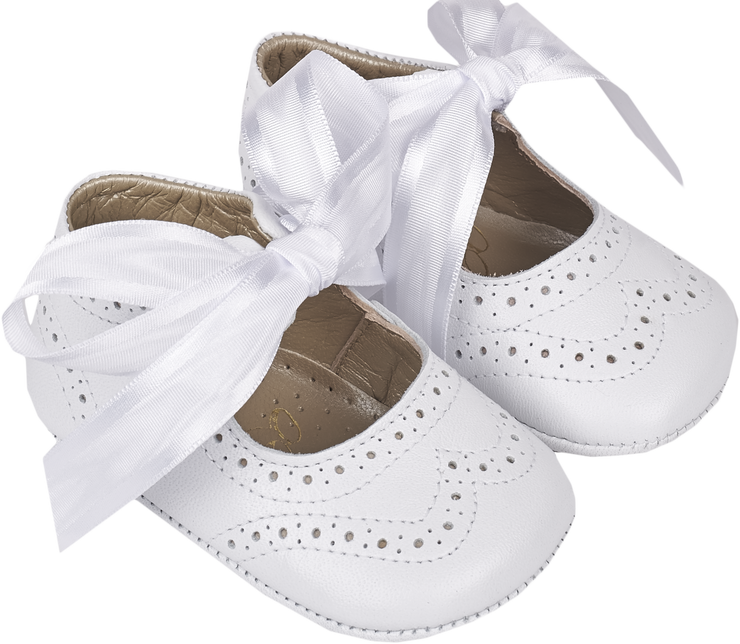Baby Girl - Leather Crawling Shoes With Ribbon Lace And Cut Out Pattern