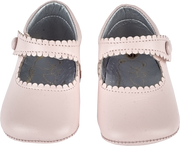 Baby Girl - Leather Scalloped Crawling Shoes With Velcro Strap