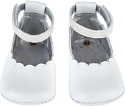 Baby Girl - Sandy Leather Scalloped Crawling Shoes With Ankle Strap
