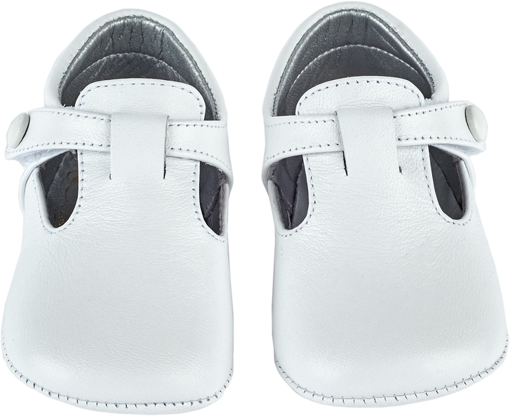 Baby Boy - Leather Crawling Shoes With Cut Outs And Button Detail