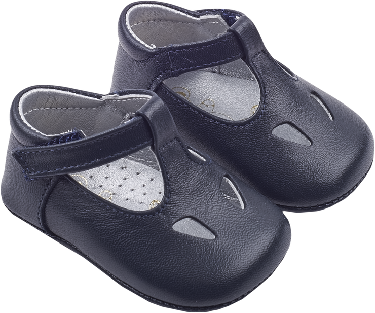 Baby Boy - Leather T-Bar Crawling Shoes With Cut Out Inserts