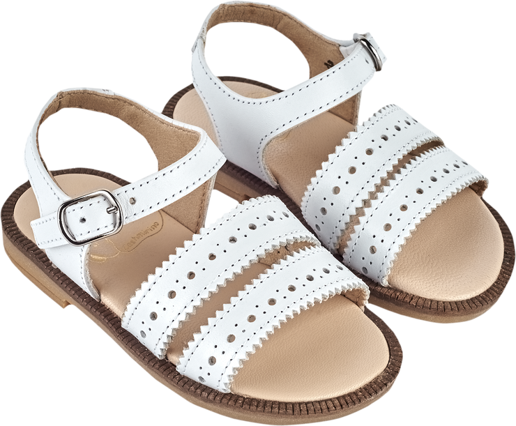 Girl - Leather Double Strap Sandals With Dot Cut Outs
