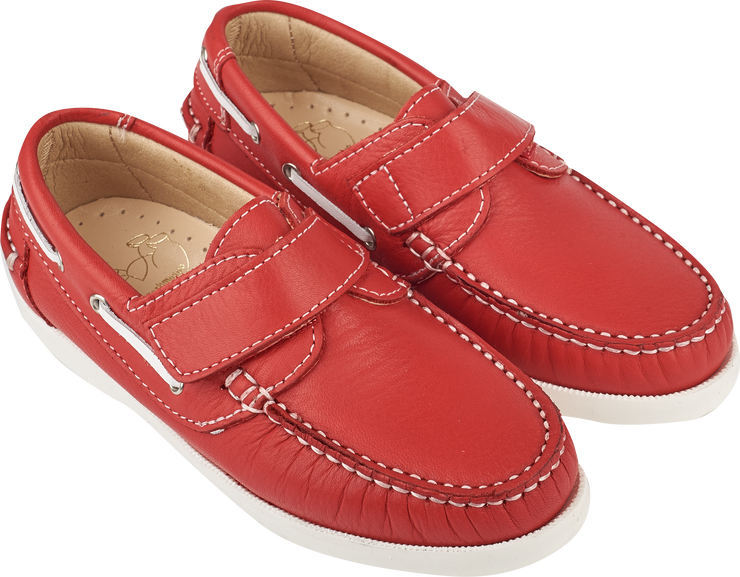 Boy - Leather Classic Boat Shoes With Velcro Strap
