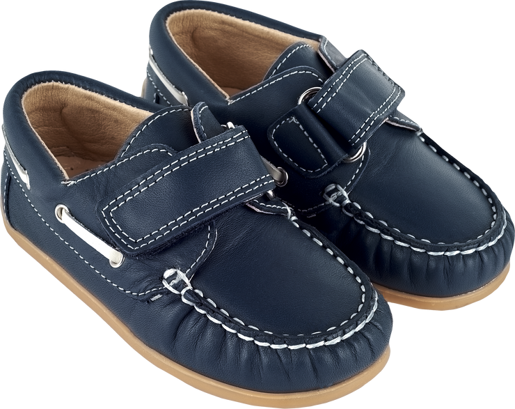 Boy - Leather Boat Shoes With Velcro Strap