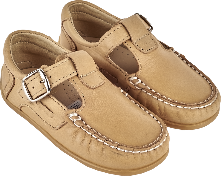 Boy - Leather Boat Shoes With T-Bar Strap And Buckle