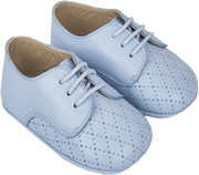 Baby Boy - 100% Leather Crawling Shoes With Diamond Cut Out Detail