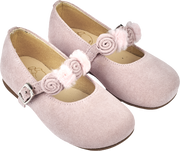 Baby Girl - Suede Ballerina Shoes With Floral And Pom-Pom Straps