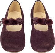 Girl - Suede Ballerina Shoes With Floral And Pom-Pom Straps