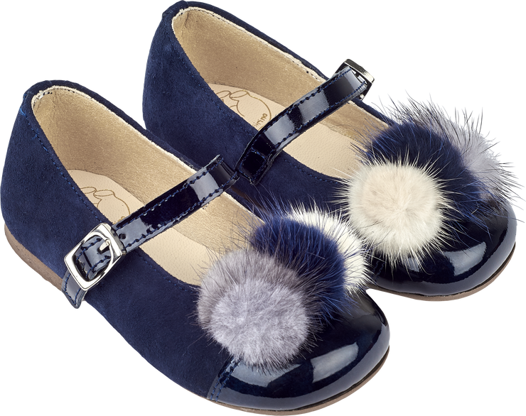 Girl - Suede Ballerina Shoes With Multi-Coloured Pom-Poms, Patent Front