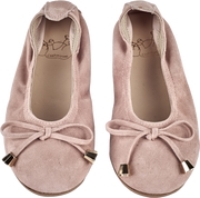 Girl - Suede Ballerina Shoes With Bow