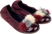 Girl - Suede Ballerina Shoes With Multi-Coloured Pom-Poms
