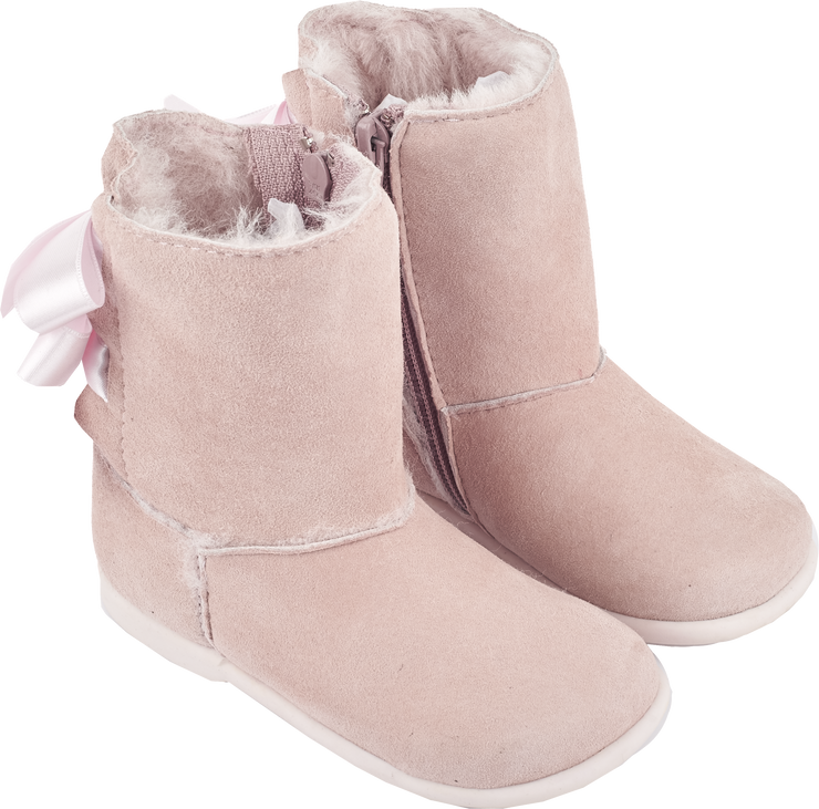 Girl - Suede Boots With Internal Fur And Ribbon Detail