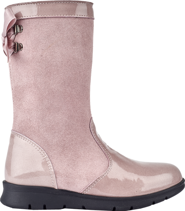 Girl - Suede Boots With Patent Leather Detail And Criss-Cross Bow