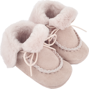 Baby Girl - Suede Crawling Ankle Boots With Foldable Fur And Laces