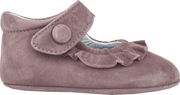Baby Girl - 100% Suede Crawling Shoes With Frill Detail And Velcro Strap