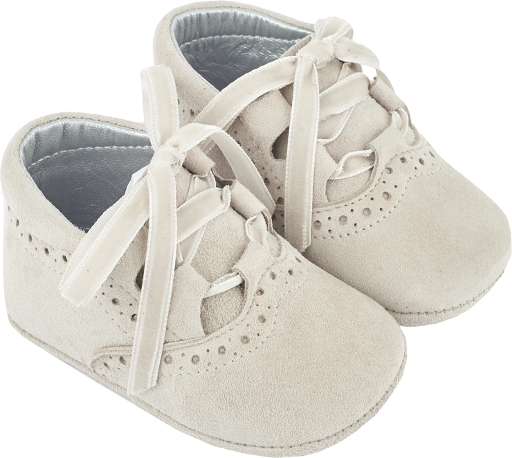 Baby Girl - 100% Suede Crawling Ankle Boots With Velvet Ribbon Lace Ups