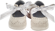 Baby Girl - Suede Crawling Shoes With Ribbon Lace And Cut Out Pattern