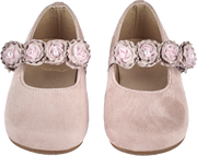 Baby Girl - Suede Mary Jane Shoes With Flower Strap