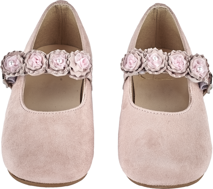 Girl - Suede Mary Jane Shoes With Flower Strap