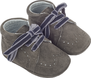 Baby Boy - Suede Crawling Ankle Boots With Velvet Ribbon Laces