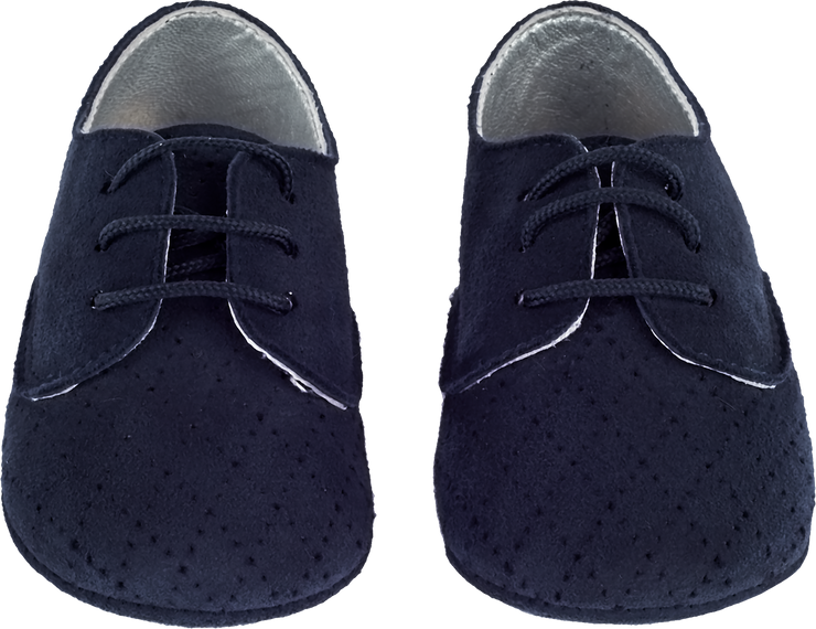 Baby Boy - Suede Crawling Shoes With Diamond Cut Out Detail