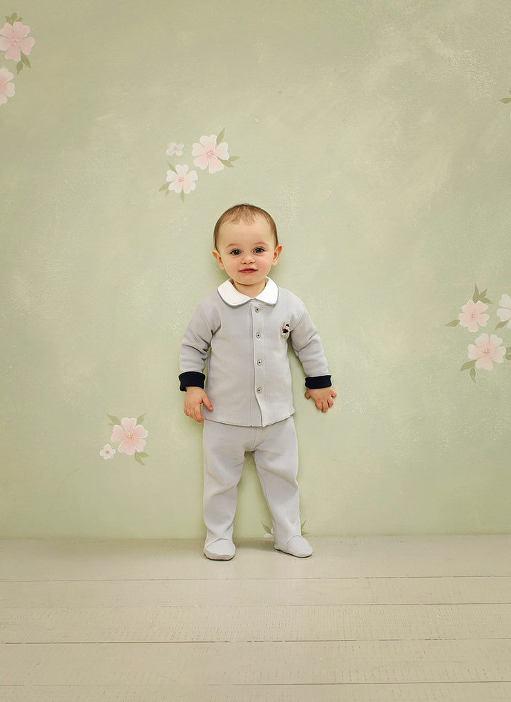 Baby Boy - 100% Cotton Long Sleeve Bodysuit With Classic Collar, Ball Embroidery And Border Detail