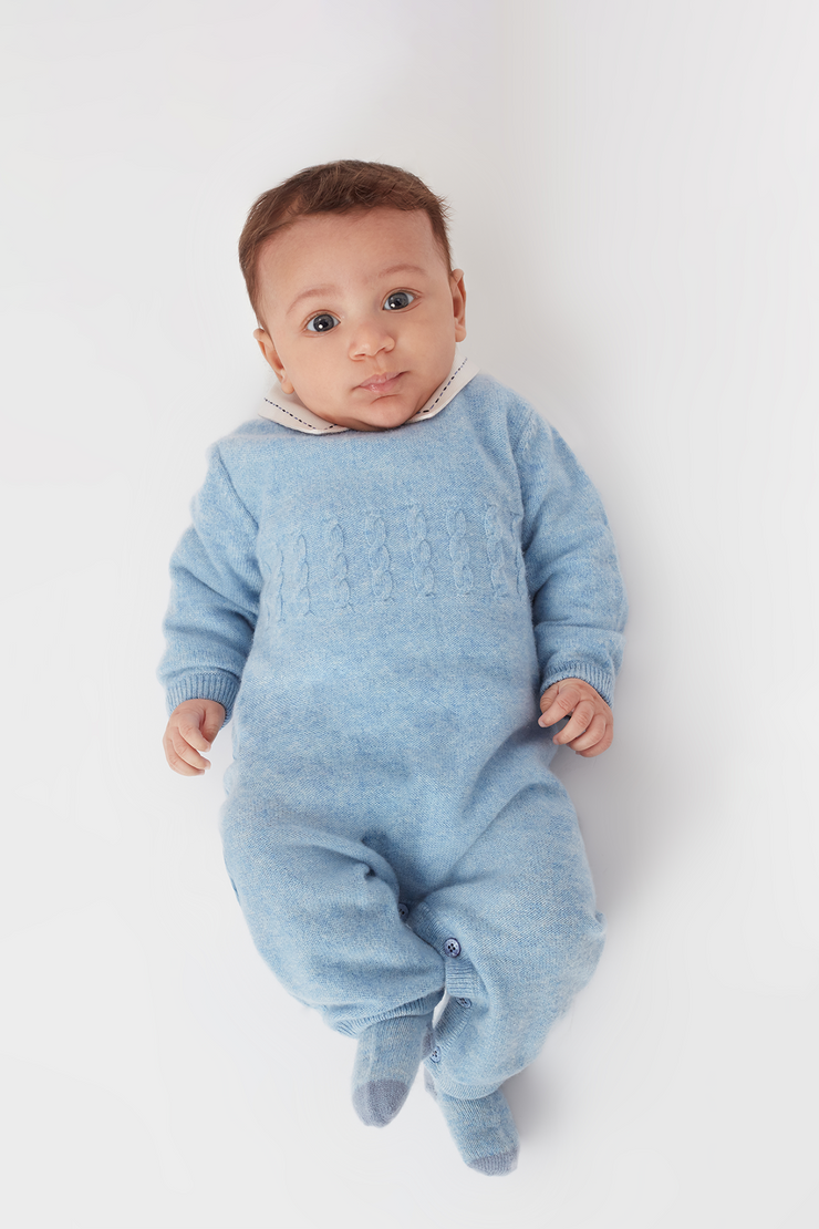 Baby Boy - Drew 100% Cashmere Romper with Cable knit Panel