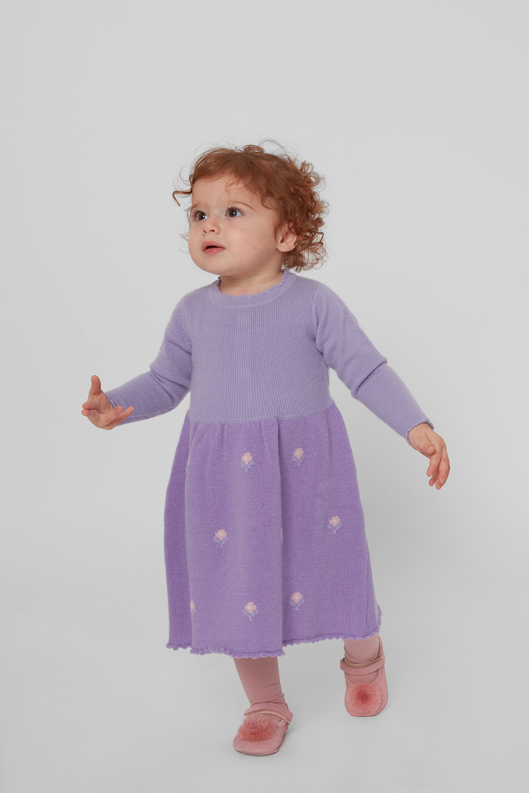 Baby Girl - Maria Cashmere Midi Dress With Intarsia Flowers