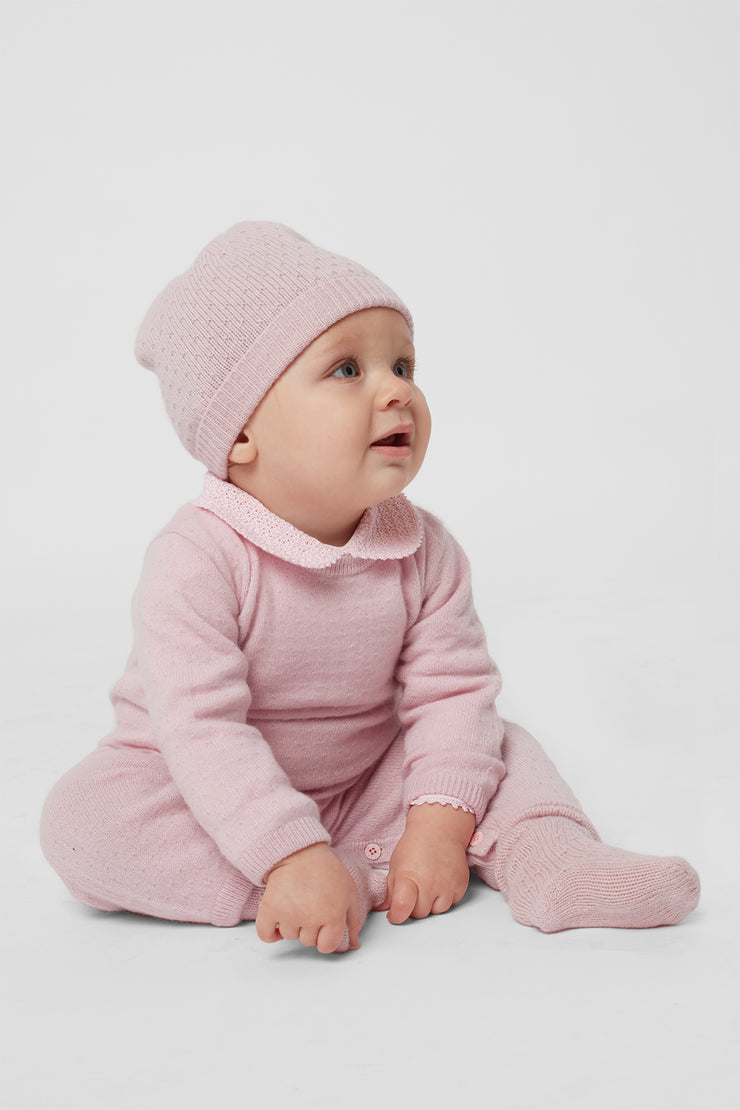 Baby Girl - Taylor 100% Cashmere Line Stitch Hat