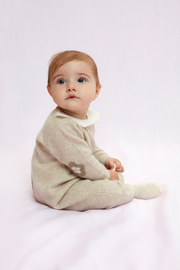 Baby Girl - Jerez Cashmere Romper with Contrasting Flower Collar