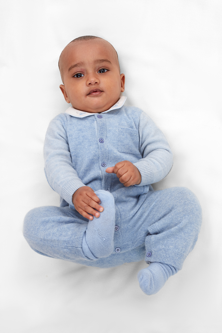 Baby Boy - Alberto 100% Cashmere Romper With Pacifier Pocket