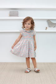 Baby Girl - Lilly Hand Embroidered 100% Cotton Smocked Dress In Cherry Blossom Print