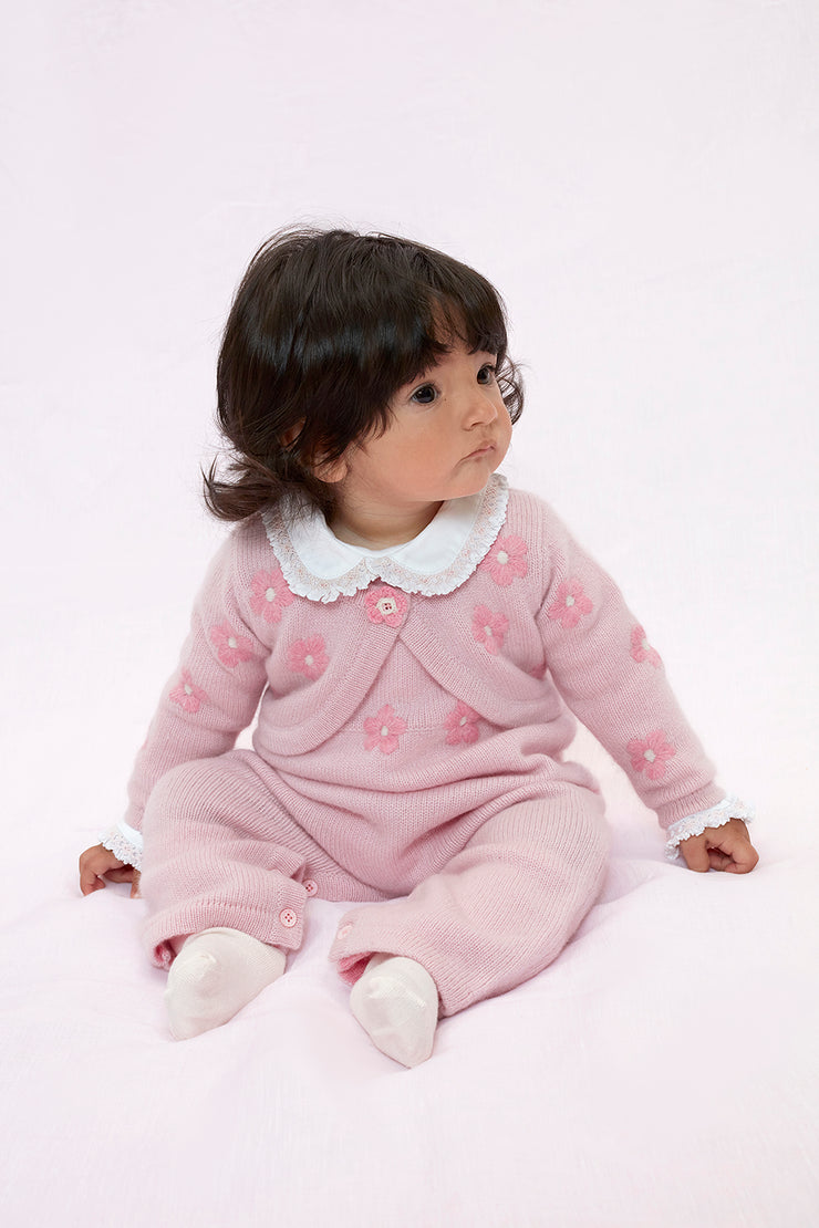 Baby Girl - 100% Cashmere Sleeveless Knit With Romper Floral Shrug Set