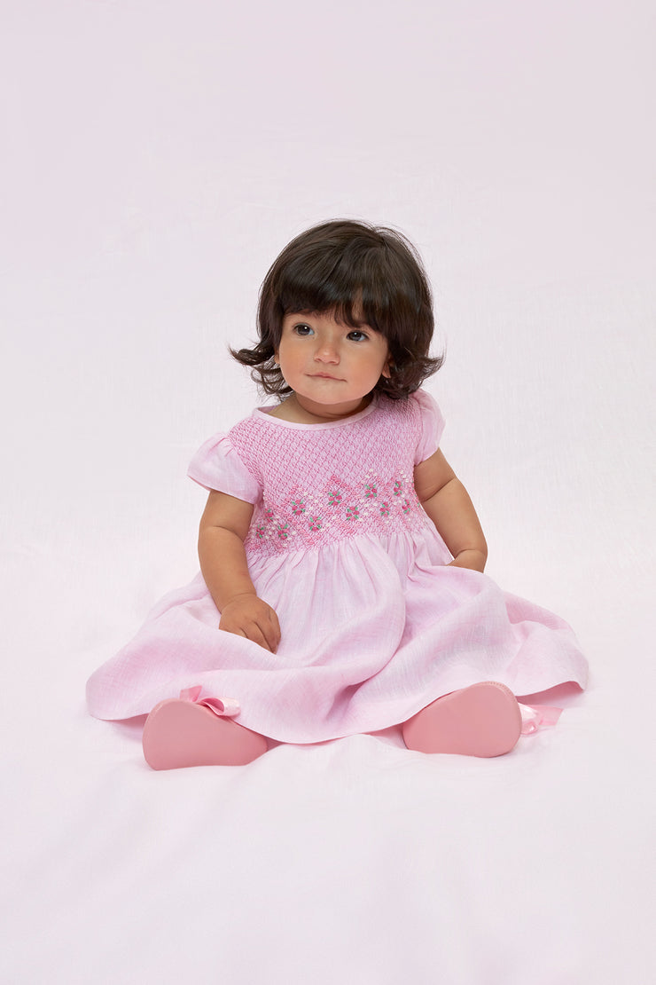 Baby Girl - Camilla 100% Linen Smocked Dress